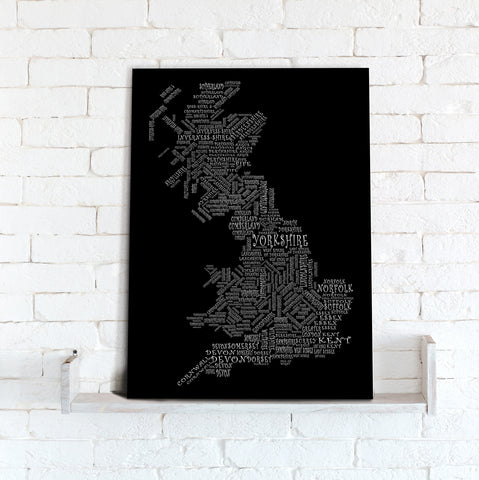 Map Canvas - Text Art Counties - Black and White