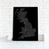Map Canvas - Text Art Counties - Black and White - Love Maps On...