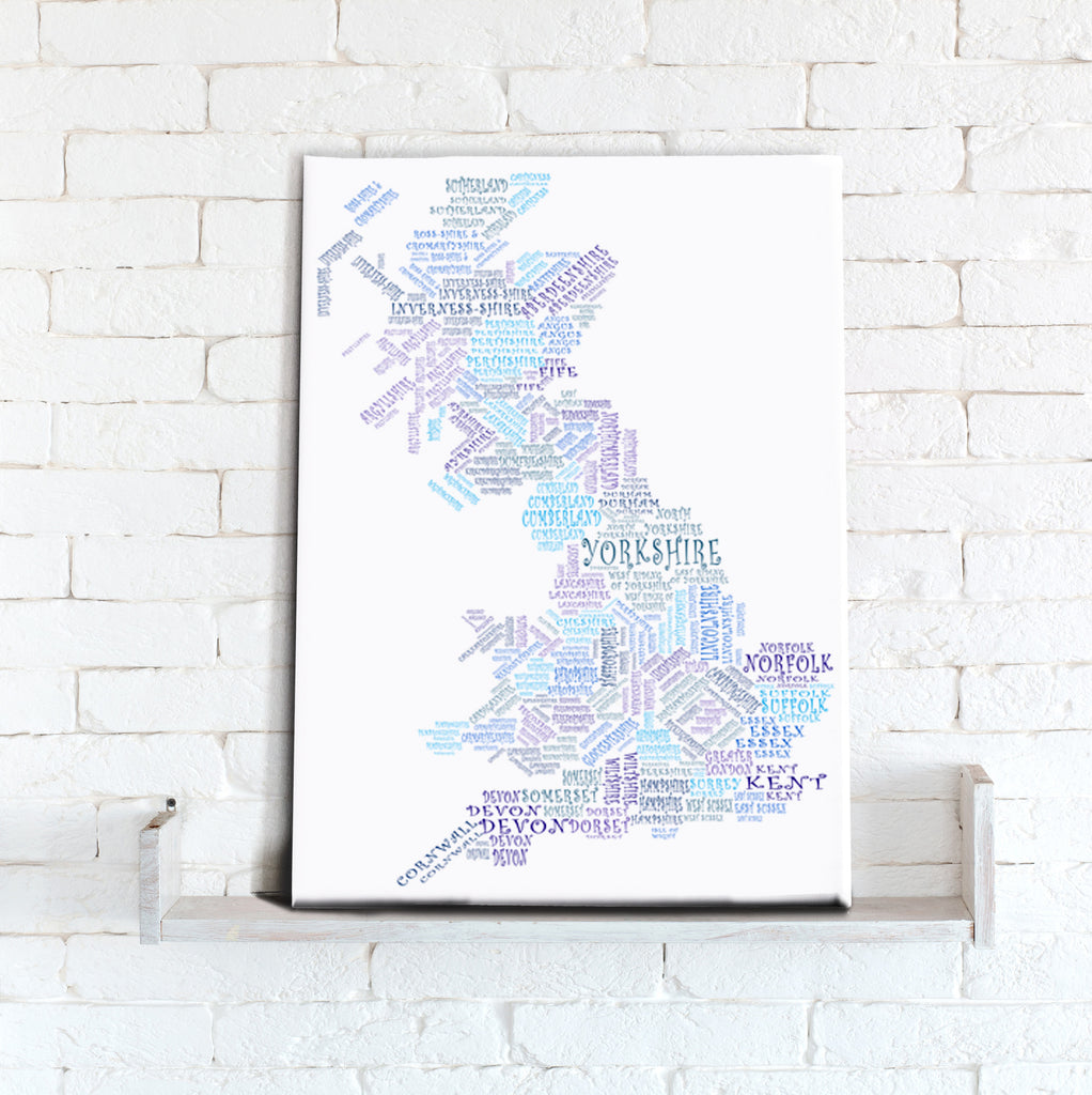 Map Canvas - Text Art Counties - Blue - Love Maps On...