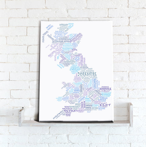 Map Canvas - Text Art Counties - Blue