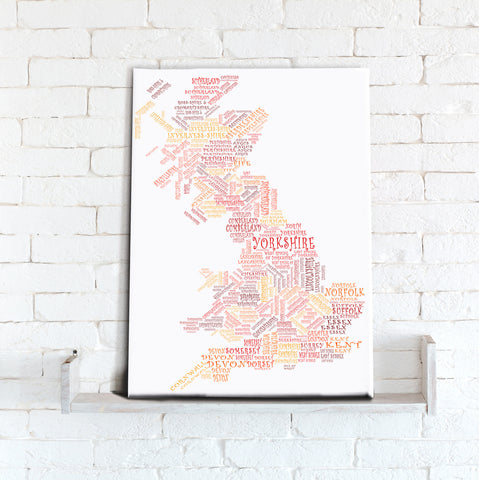 Map Canvas - Text Art Counties - Reds and Oranges