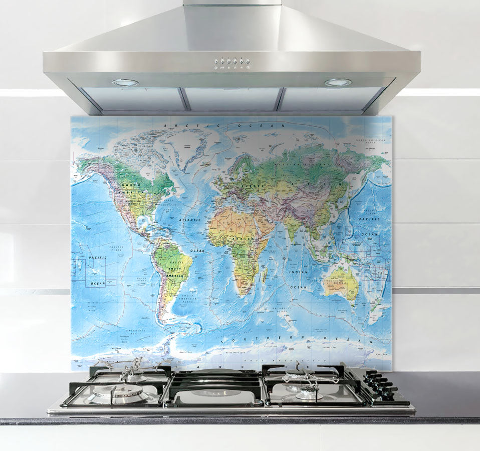 Glass Splashback - Ultimate World Map