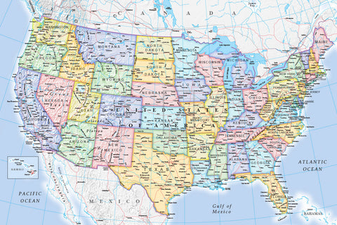 Map Wallpaper - USA Political Map