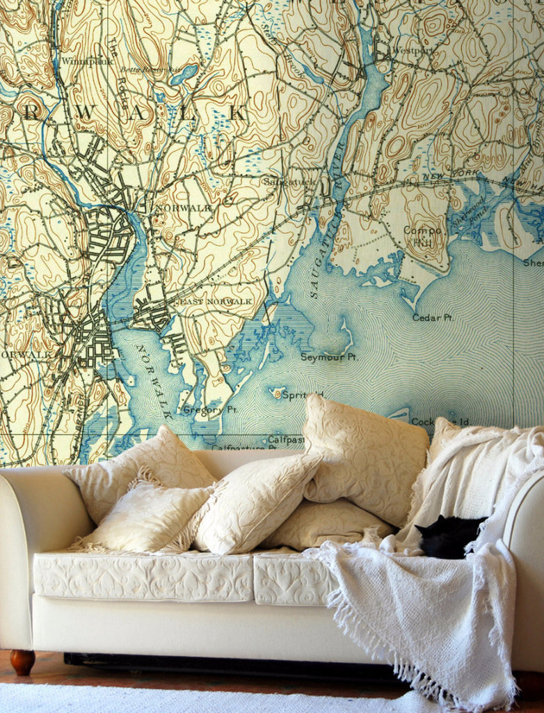 Map Wallpaper - Custom Vintage US Mapping - 1880s to 1980s - Love Maps On... - 1