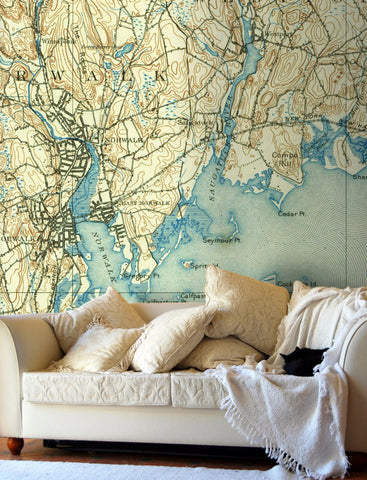 Map Wallpaper - Custom Vintage US Mapping - 1880s to 1980s