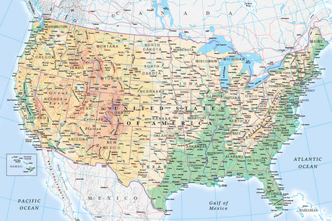 Map Wallpaper - USA Physical Map