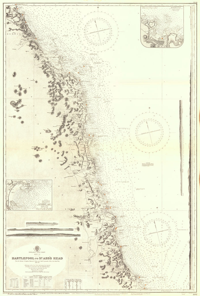 Vintage Nautical Chart - Admiralty Chart 1192 - Hartlepool to St. Abb's Head