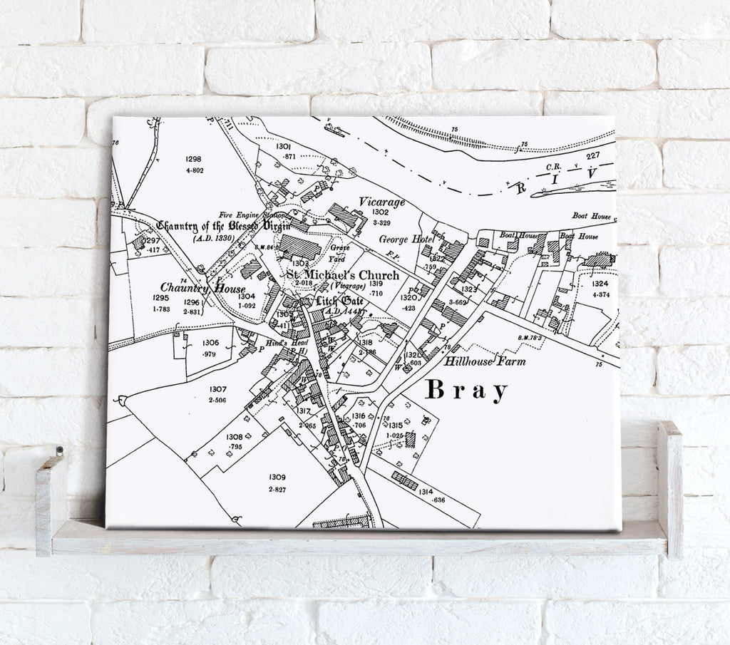 Map Canvas - Custom Vintage Ordnance Survey Map - Victorian Street Map High Detail (optional inscription) Canvas Print- Love Maps On...