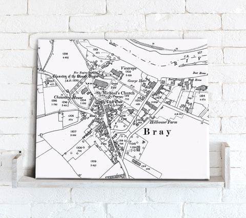 Map Canvas - Custom Vintage Ordnance Survey Map - Victorian Street Map High Detail (optional inscription)