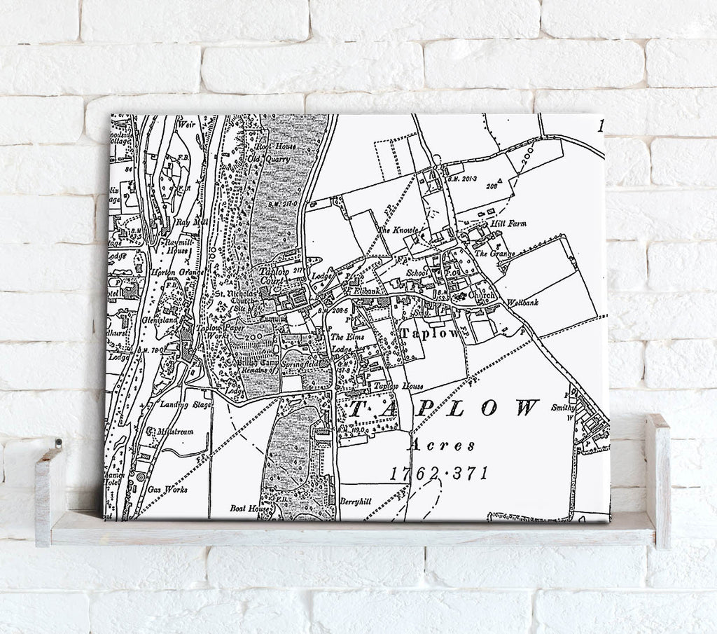 Map Canvas - Custom Vintage Ordnance Survey Map - Victorian Street Map (optional inscription) Canvas Print- Love Maps On...