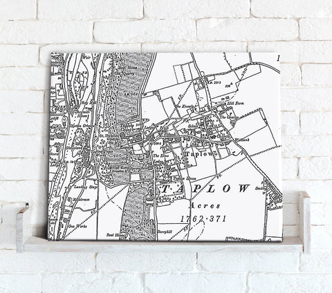 Map Canvas - Custom Vintage Ordnance Survey Map - Victorian Street Map (optional inscription)