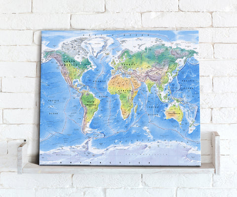 Map canvas prints from love maps on map canvas physical world map gumiabroncs Choice Image