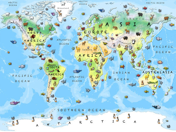 Map Poster Children 39 s Animal World Map from Love Maps On