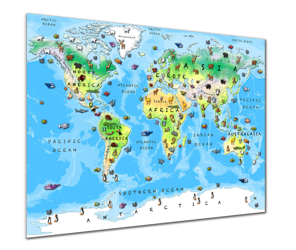 Map Poster - Children's Animal World Map - Love Maps On... - 1