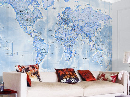 Map Wallpaper - Political World Map - Blue - Love Maps On... - 1