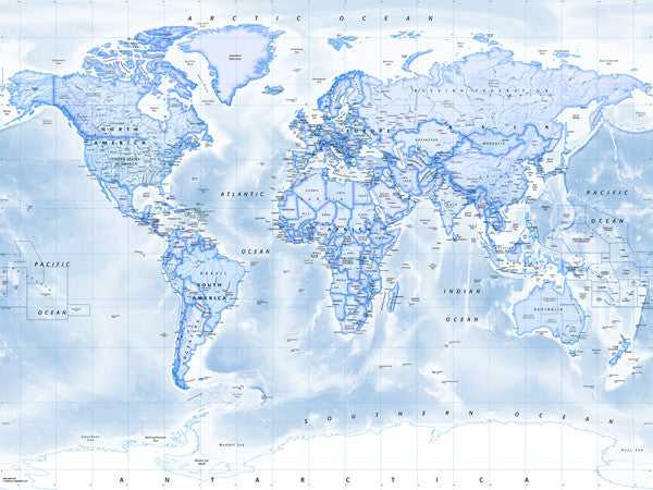 Map poster political world map blue from love maps on map poster political world map blue love maps on gumiabroncs Choice Image