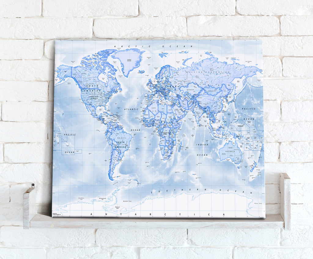 Map Canvas - Political World Map - Blue - Love Maps On...