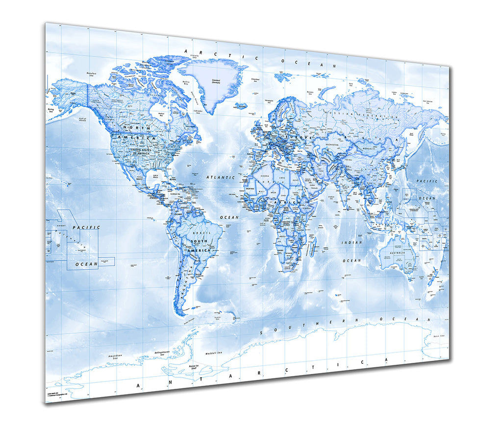 Map Poster - Political World Map - Blue - Love Maps On...