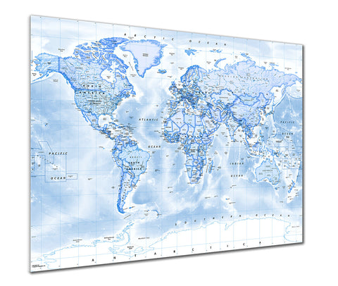 Map Poster - Political World Map - Blue