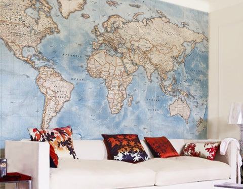 Custom made map wallpaper from love maps on map wallpaper political world map discovery gumiabroncs Image collections