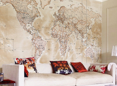 Custom made map wallpaper from love maps on map wallpaper political world map antique gumiabroncs Image collections