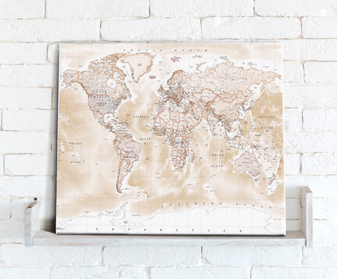 Map Canvas - Political World Map - Antique