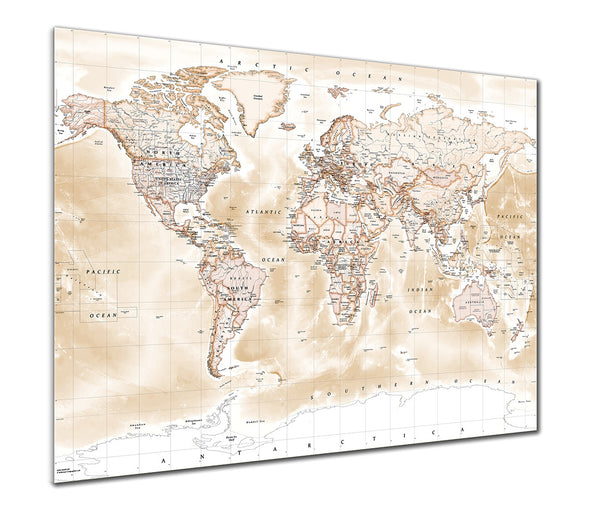 Map Poster - Political World Map - Antique