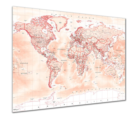 Map Poster - Political World Map - Red
