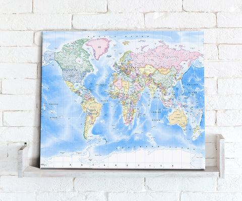 Map Canvas - Political World Map -  Traditional