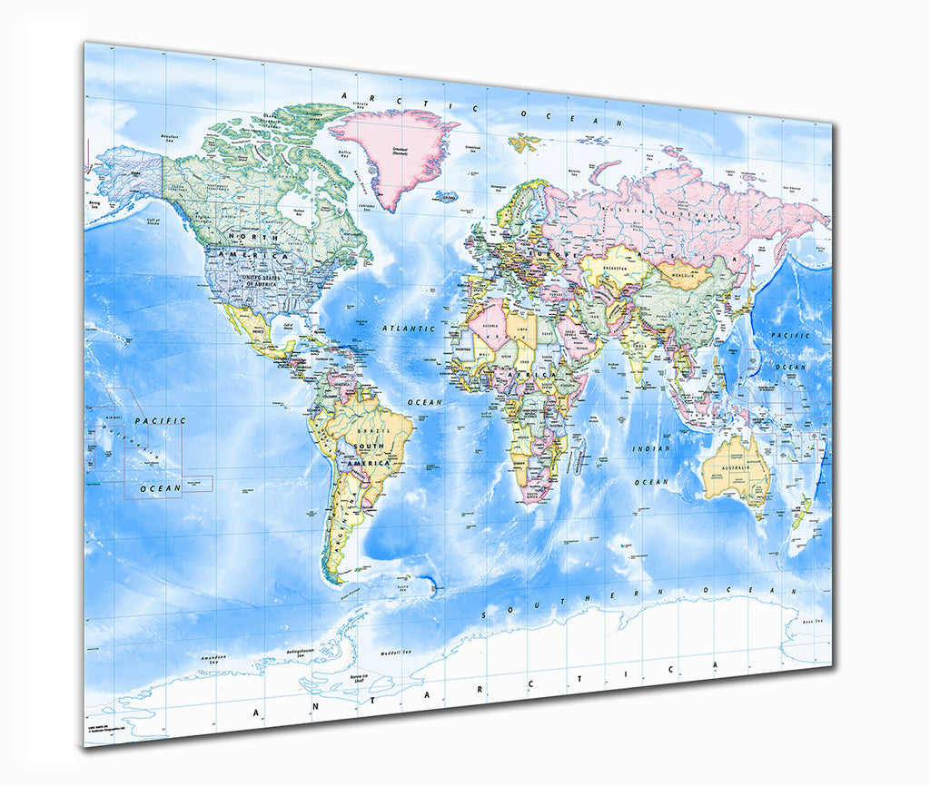 Map Poster - Political World Map - Traditional - Love Maps On... - 1