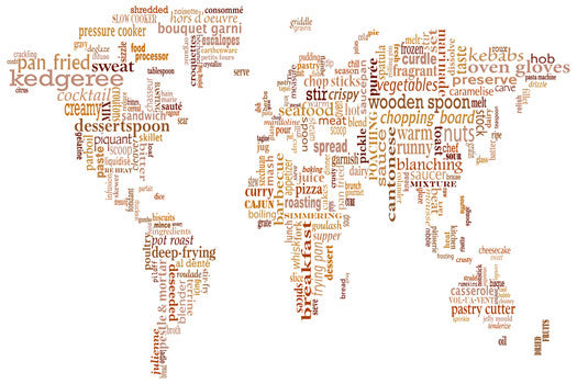 map canvas text art world map food theme beige love maps on