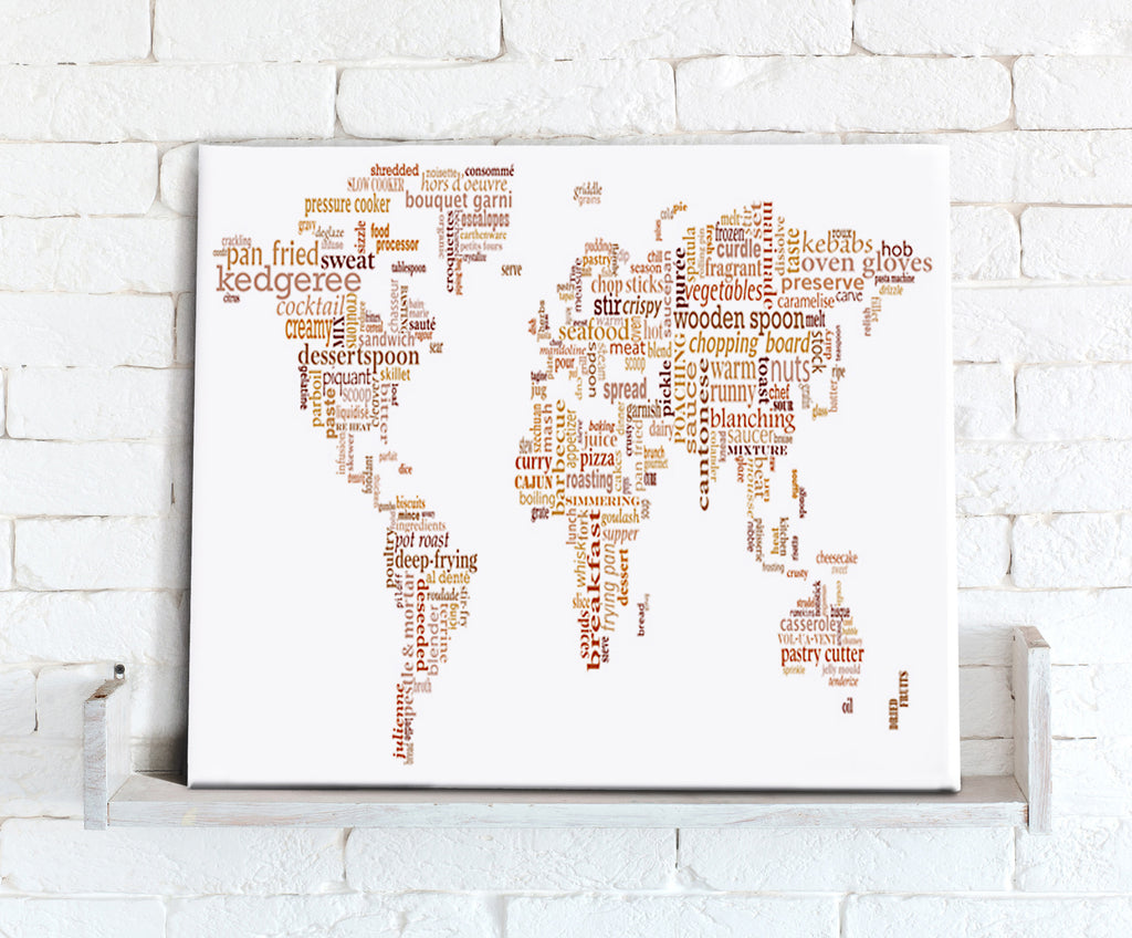 Map Canvas - Text Art World Map - Food Theme Beige - Love Maps On...