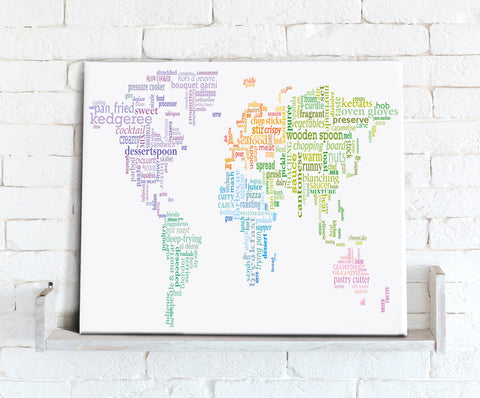 Map Canvas - Text Art World Map - Food Theme Multicoloured