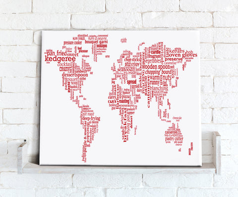 Map Canvas - Text Art World Map - Food Theme Red