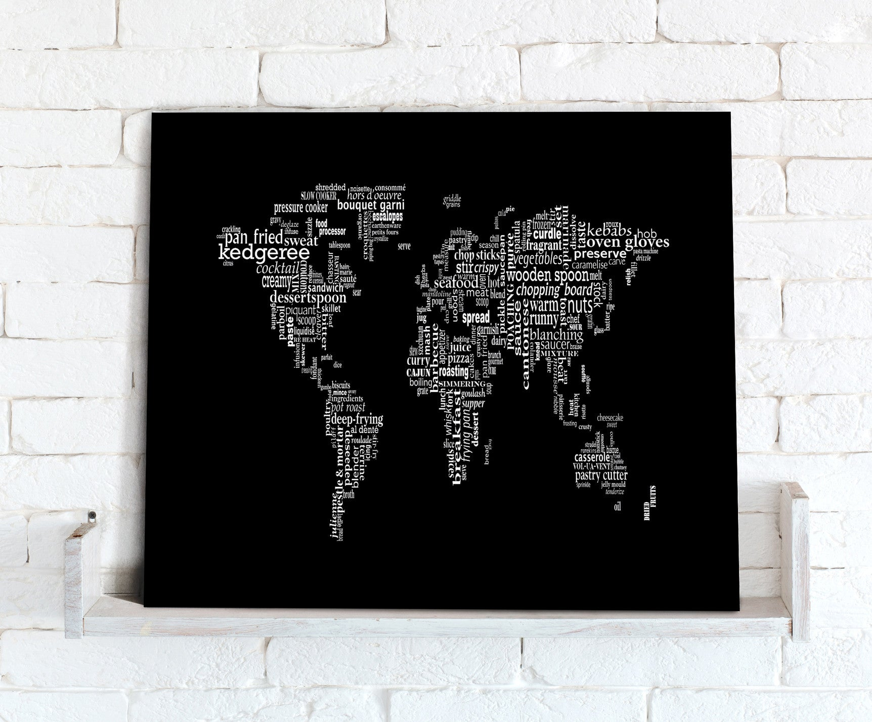 Map canvas text art world map black white food theme from love map canvas text art world map black white food theme love maps gumiabroncs Gallery