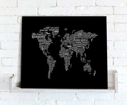 Map Canvas - Text Art World Map - Black & White Food Theme