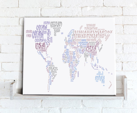 Map Canvas - Text Art World Map - Countries Purple and Blue