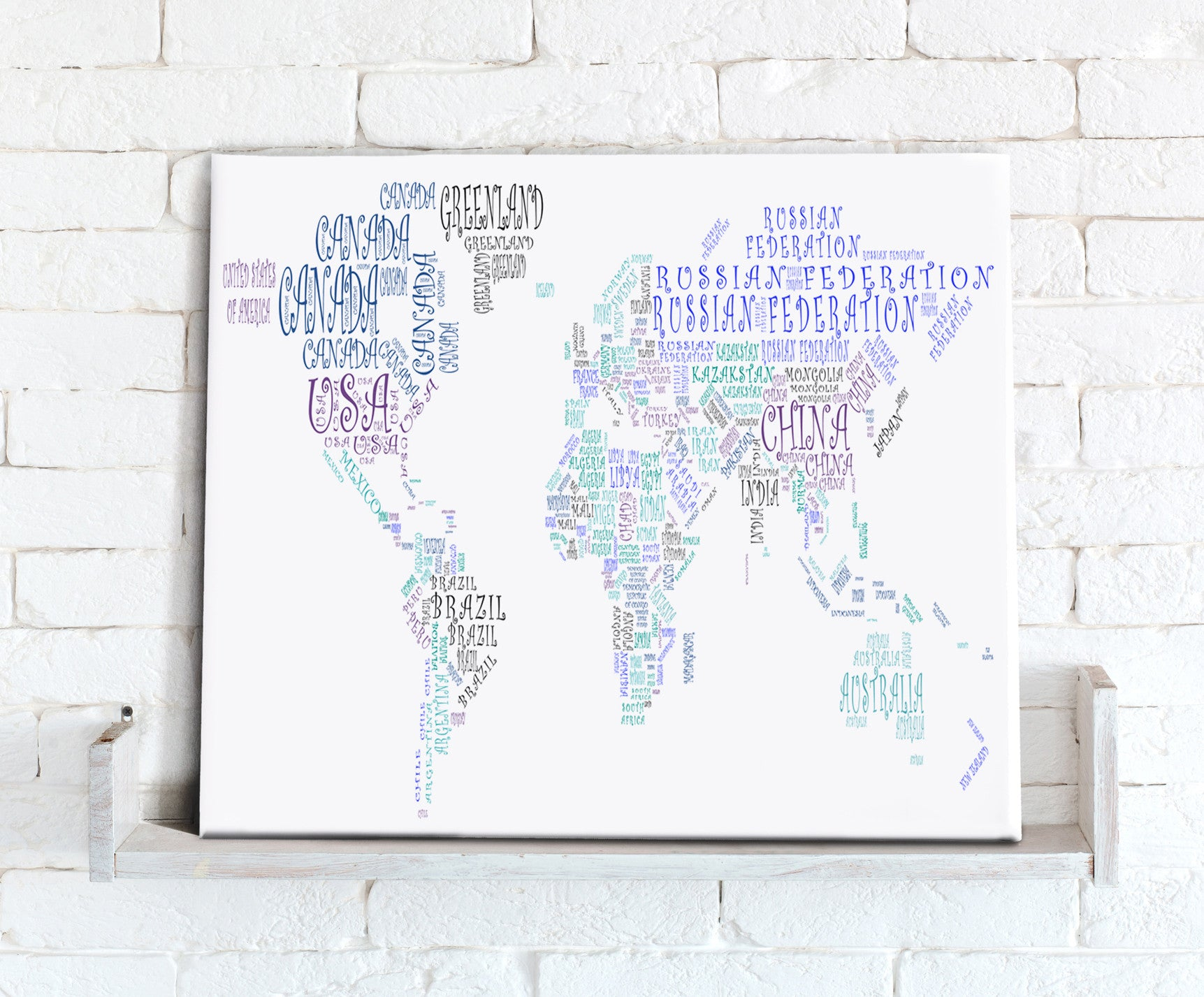 Map Canvas Text Art World Map Countries Green And Blue From - Earth map countries