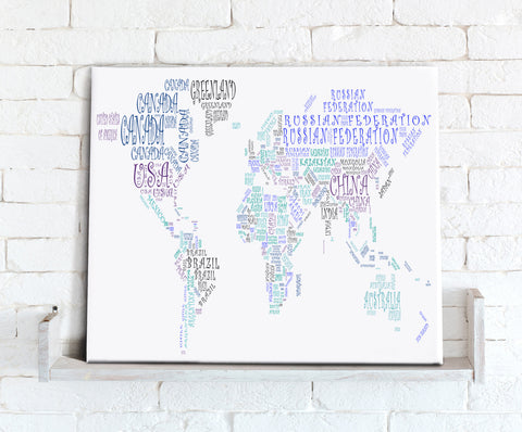 Map Canvas - Text Art World Map - Countries Green and Blue