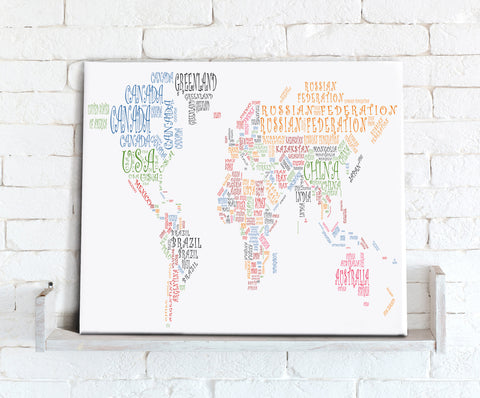 Map Canvas - Text Art World Map - Countries Multicoloured