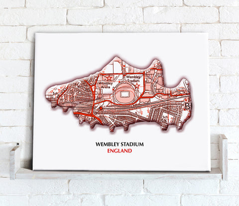 Football Stadium Map - Canvas Print