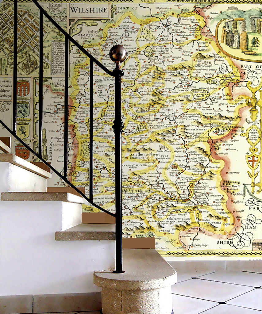 Map Wallpaper - Vintage County Map - Wiltshire - Love Maps On... - 2