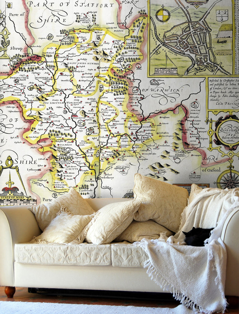 Map Wallpaper - Vintage County Map - Worcestershire - Love Maps On... - 1