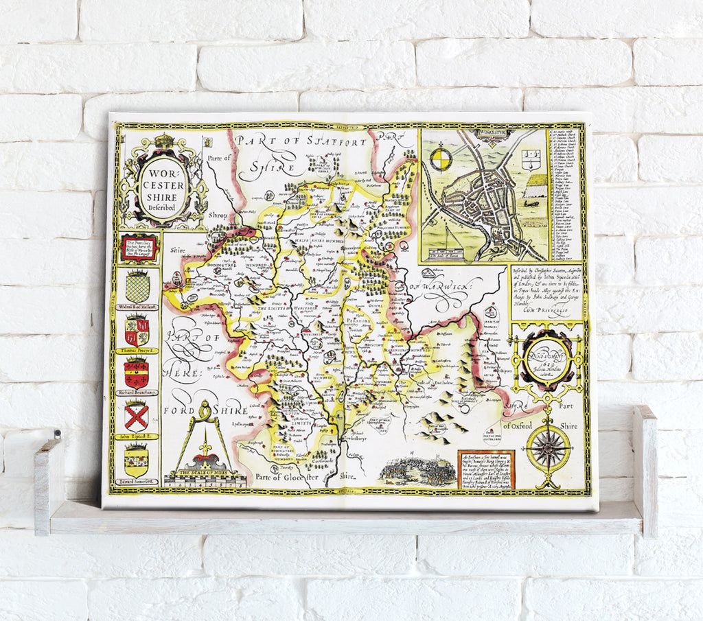 Map Canvas - Vintage County Map - Worcestershire - Love Maps On...