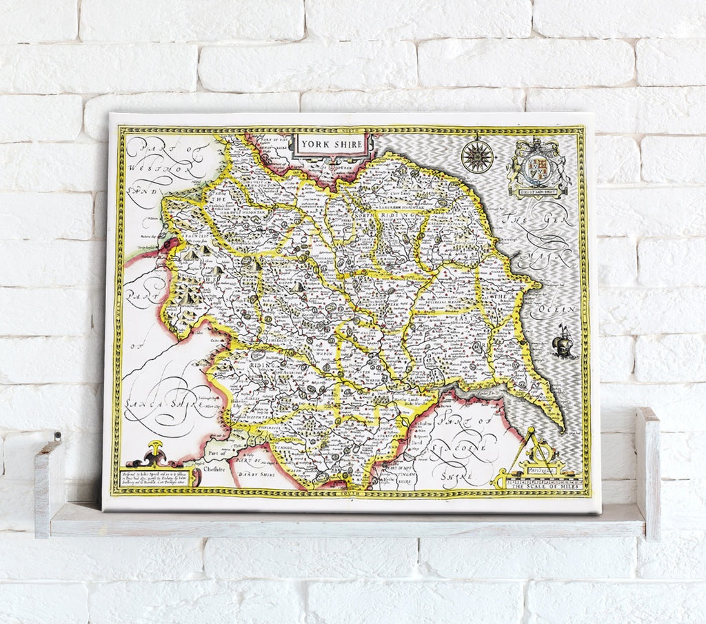 Map Canvas - Vintage County Map - Yorkshire - Love Maps On... - 1