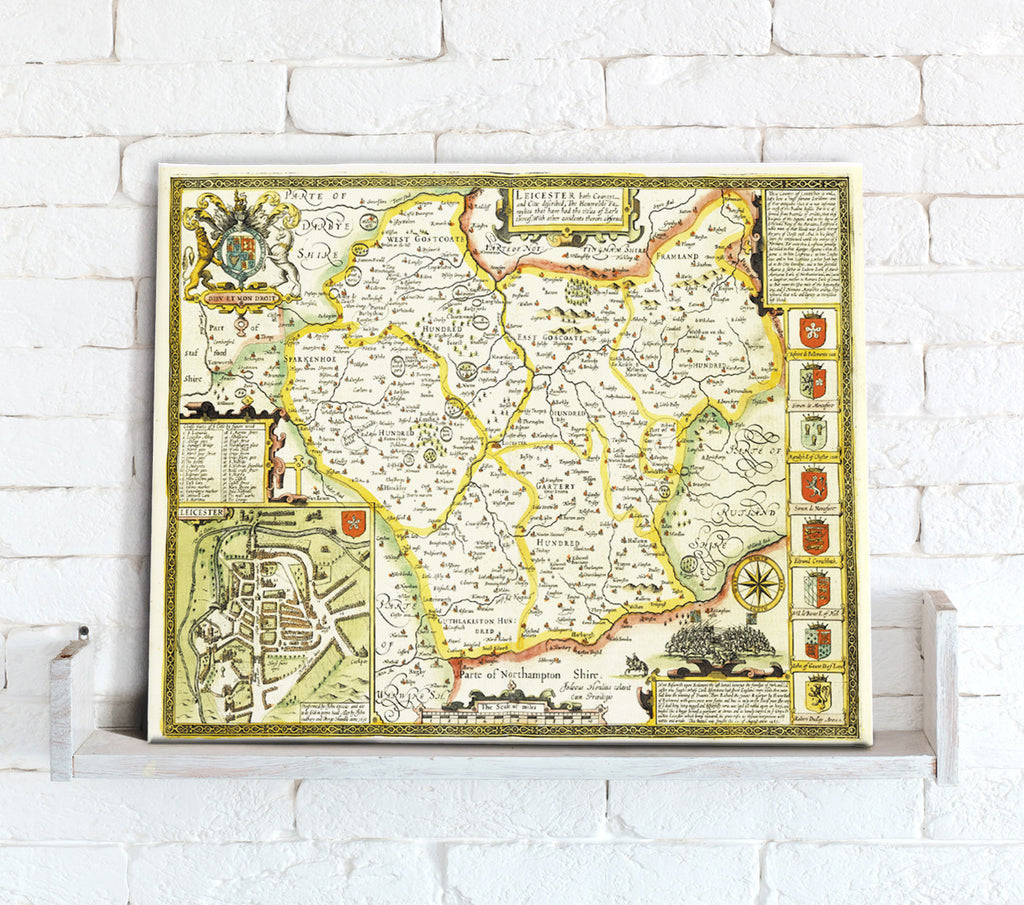 Map Canvas - Vintage County Map - Leicestershire - Love Maps On...