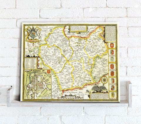 Map Canvas - Vintage County Map - Leicestershire