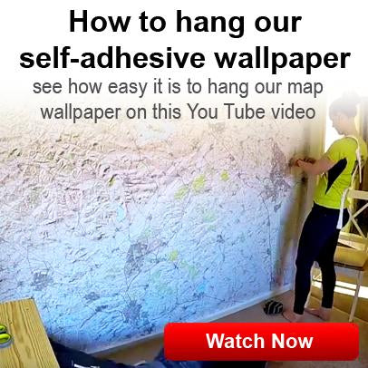Hanging self adhesive map wallpaper