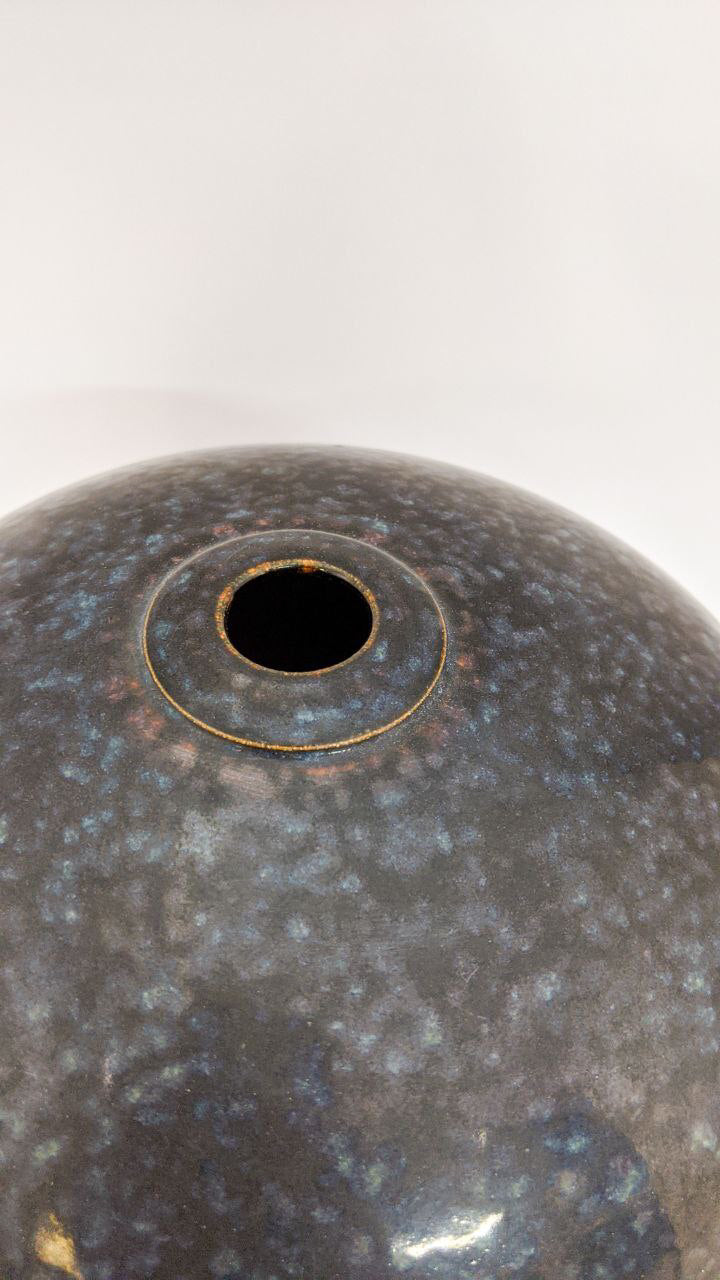 Oil Spot Tenmoku Round Pot | Elegant Ceramics Vase | Asian Pottery
