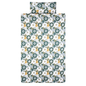 Retro Daisy Print Organic Cotton Duvet Set